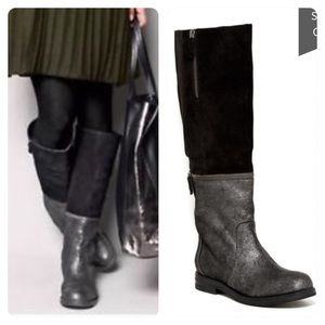 NWOT! Eileen Fisher Switch Metallic Suede Boot